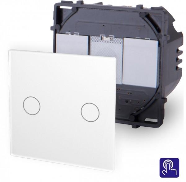 POINT Touchsreen Serien Lichtschalter 2 Fach Modul in Weiß P-702-11