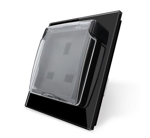 LIVOLO Design Glas Steckdose Schutzabdeckung 1 Fach C7-1WF/SR/C1UK-12-A Schwarz