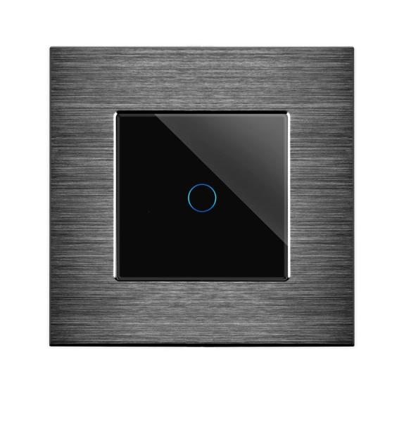 POINT Touch Lichtschalter Aluminium Rahmen mit Glaseinsatz 1-Fach Schwarz/SchwarzLXBA1-12-P-701-12
