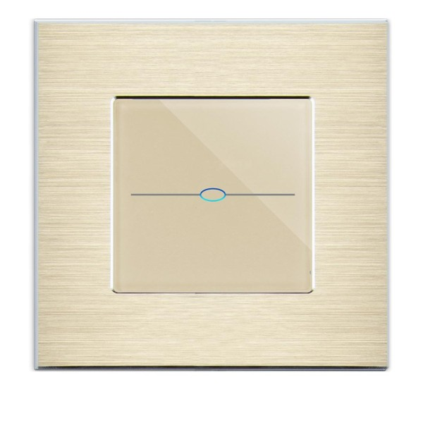 LUX Touchscreen Funkschalter inkls. Alu Rahmen (Nebenstelle/Slave) 1 Fach gold