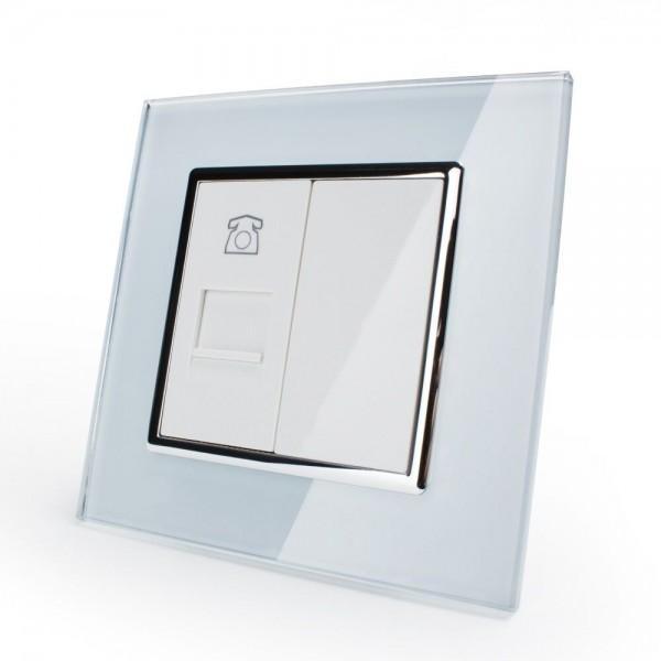 LIVOLO Telefondose mit Glasrahmen Steckdose VL-C7-1T-11 Weiß
