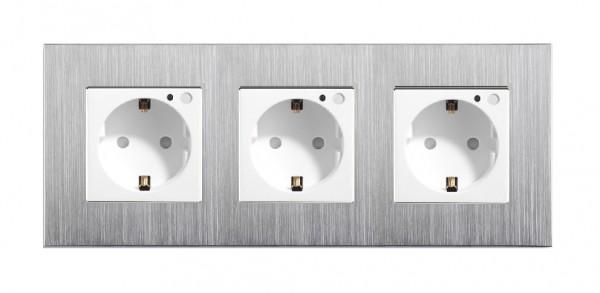 LUX FUNK Smart Steckdose 3 Fach Schuko inkl. Alurahmen in Weiß