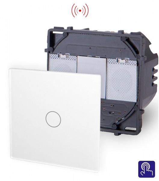 POINT Innenleben Funk Lichtschalter 1 Fach Smart Glas Touch in Weiß P-701R-11