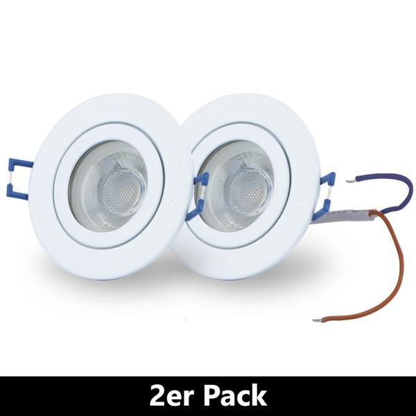 LED Einbaustrahler (2 er Pack) Decken Spots zum Vorteilspreis - Kalt Weiß A+