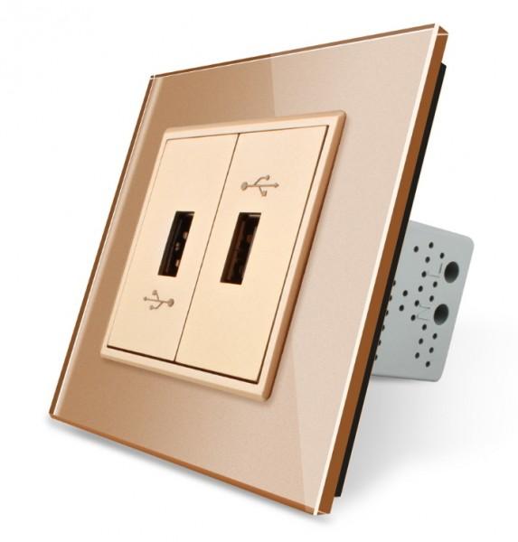 LIVOLO USB Steckdose zum laden von USB Geräten mit Glasrahmen VL-C792U-13 Gold 2-Fach