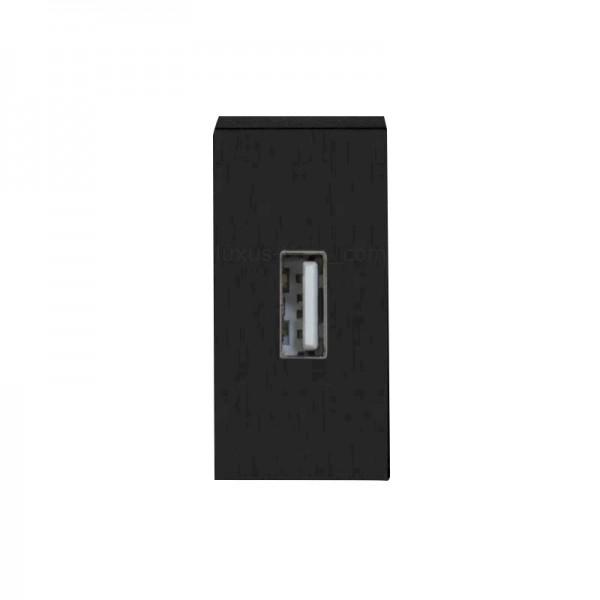 LUX USB Datendose 1/2 Modul in Schwarz LX-Datendose-12