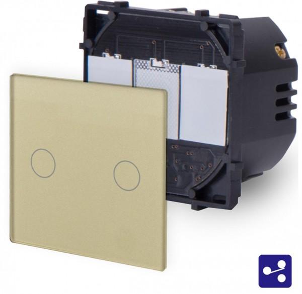 POINT Touchsreen Wechsel/Kreuzschalter 2 Fach Modul in Gold P-702S-13